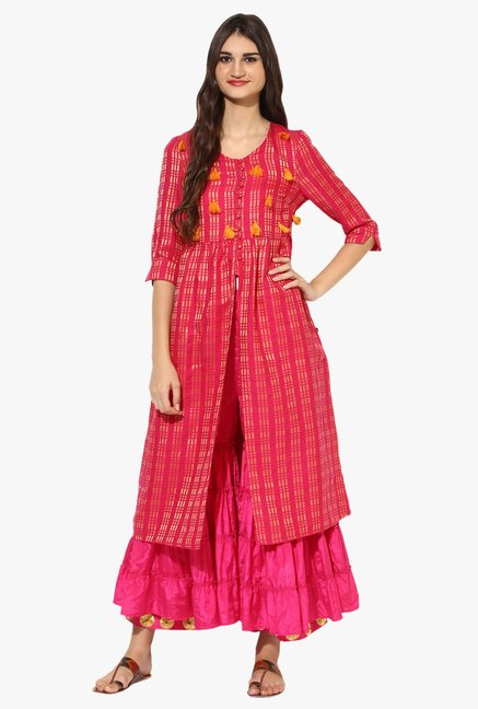 Juniper Pink Silk Sharara