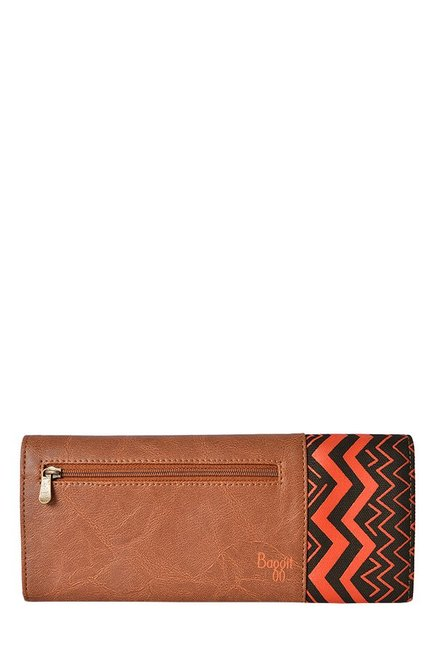 Baggit Jules Bindas Caramel & Orange Textured Wallet