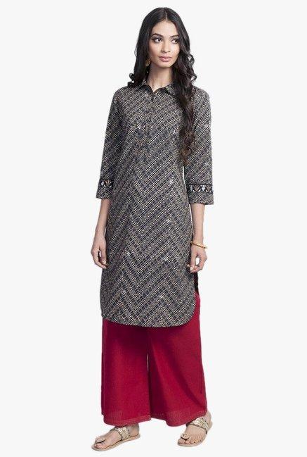 889949e3076fac Buy Fabindia Black   Beige Printed Cotton Kurta for Women Online   Tata CLiQ