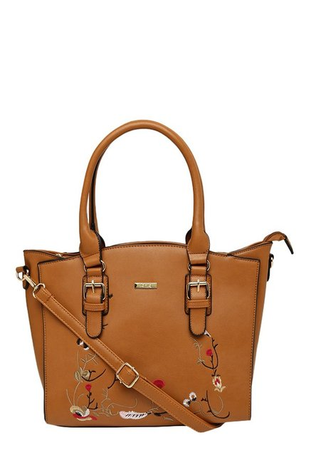 Toniq Blooming Wines Tan Embroidered Shoulder Bag