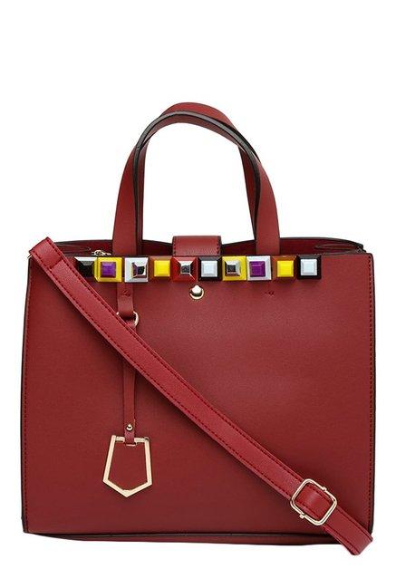 Toniq Roma Maroon Embellished Handbag