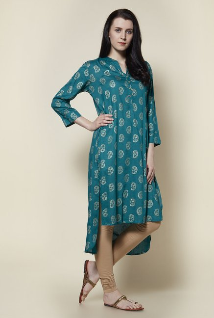 Zudio Teal Printed Kurta