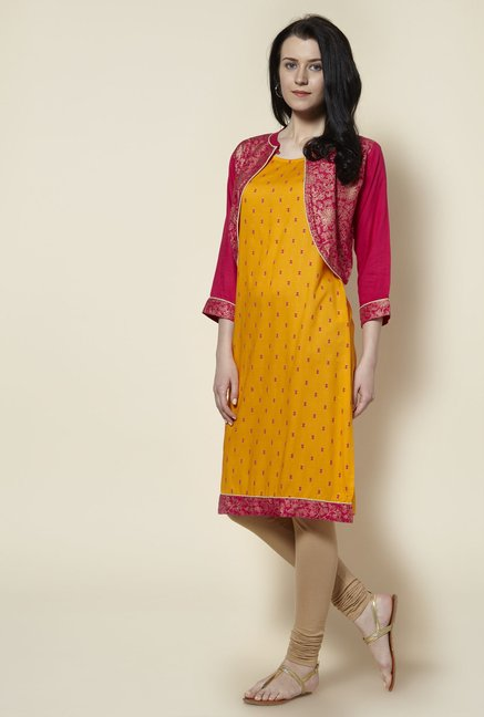 Zudio Bright Orange Kurta with Jacket