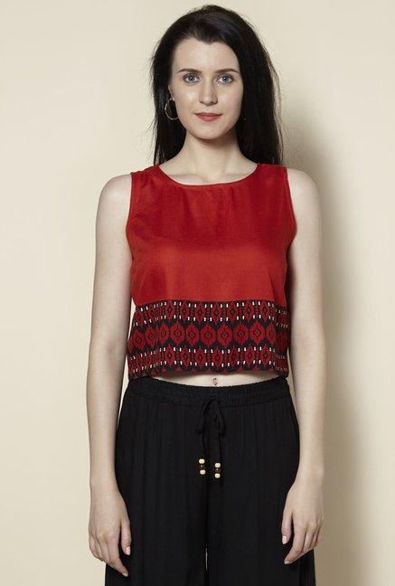 d1a2714669 Buy Zudio Rust Ethnic Slim Fit Crop-Top for Women Online @ Tata CLiQ