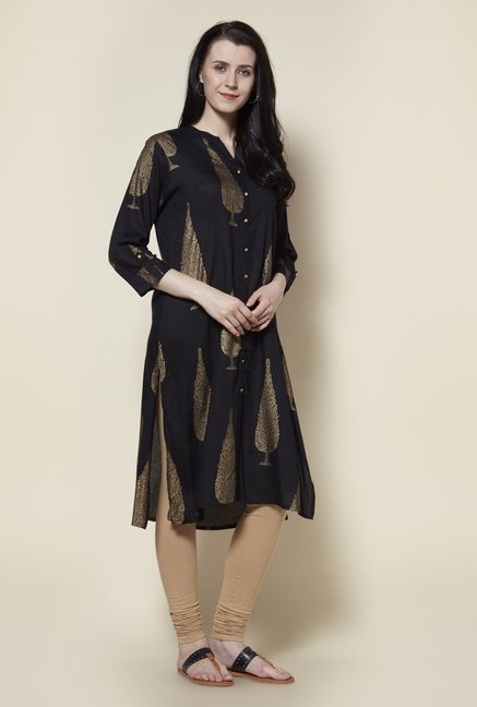 Zudio Black Gold Printed Kurta