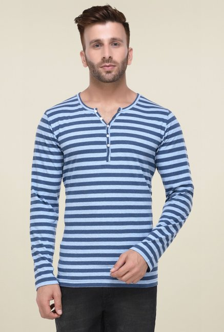 69dba4dba41 Buy Rigo Sky Blue Striped Full Sleeves Henley T-Shirt for Men Online   Tata  CLiQ