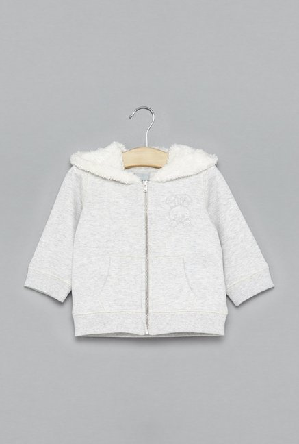 7135ed8ed Buy Baby HOP by Westside Ecru Melange Jacket for Infant Girls ...