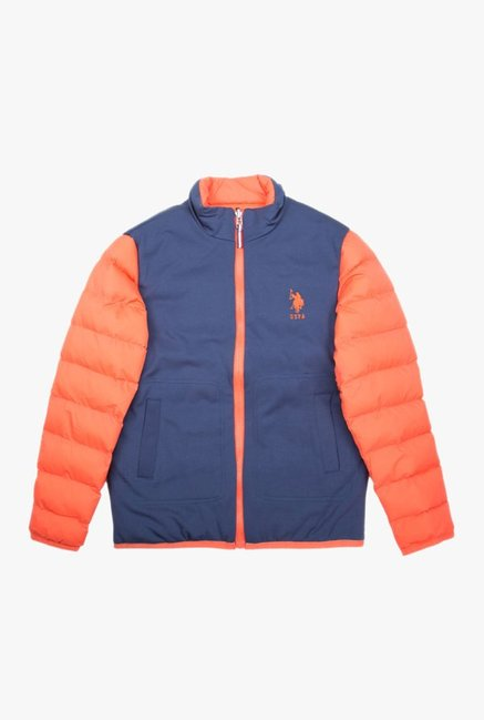 cc32f03b7 Buy US Polo Orange   Blue Solid Jacket for Boys Clothing Online ...