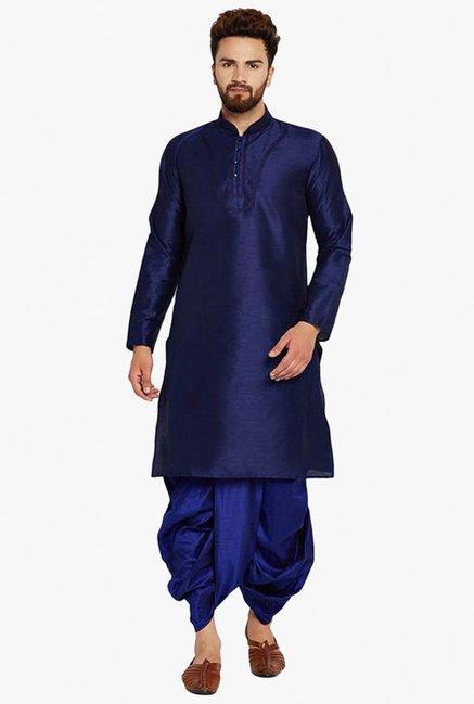 036794dc0338 Buy Sojanya Royal Blue Mandarin Collar Kurta Set for Men Online   Tata CLiQ