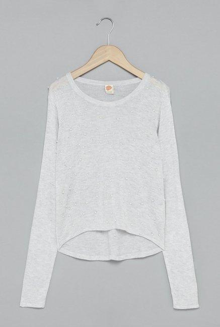 65246c4b5fe38b Buy Y F by Westside Grey Melange Sweater for Girls Clothing Online ...