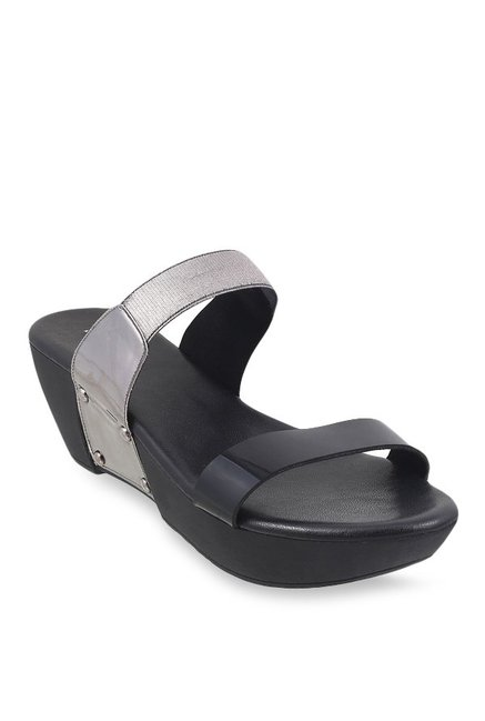 Mochi Black & Silver Wedge Heeled Sandals
