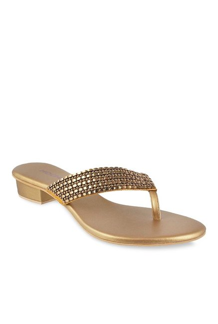 6321615eec885 Buy Mochi Antique Gold Thong Sandals for Women at Best Price   Tata CLiQ