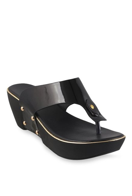 4d0512d2c0ea Buy Mochi Black T-Strap Wedges for Women at Best Price   Tata CLiQ