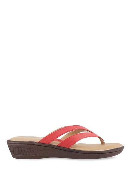 Mochi Red Thong Wedges