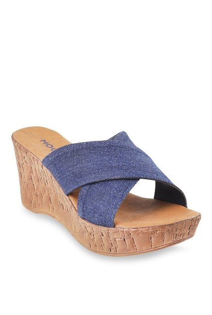 Mochi Denim Blue Cross Strap Wedges