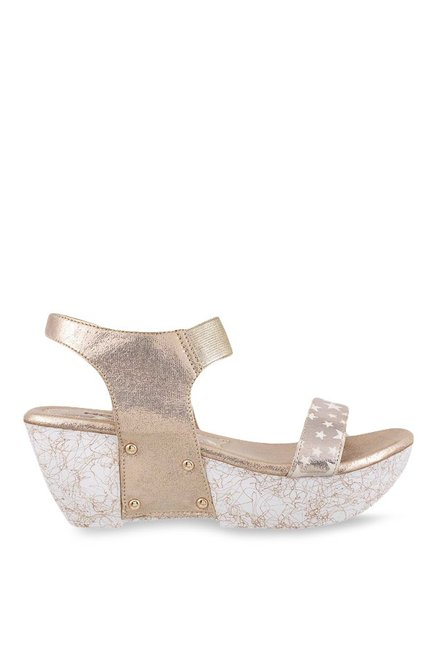 Mochi Golden & White Ankle Strap Wedges