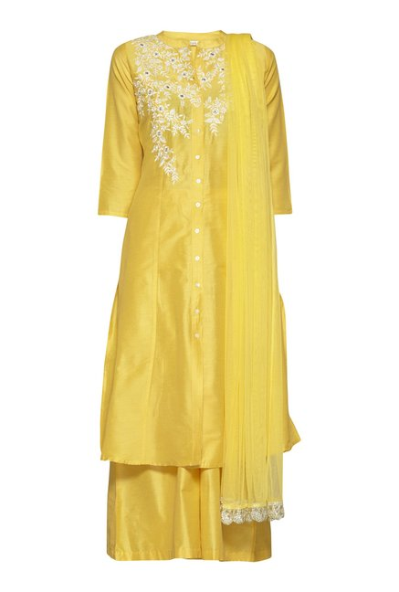 Vark by Westside Yellow Slim Fit Ethnic Set