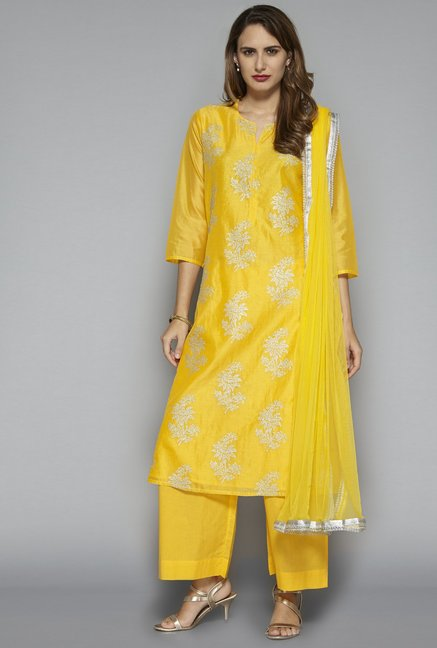 555308e68db69 Buy Vark by Westside Yellow Ethnic Set for Women Online   Tata CLiQ