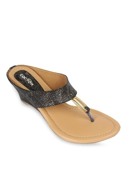 a475f5a26 Buy Cocoon Black T-Strap Wedges for Women at Best Price   Tata CLiQ