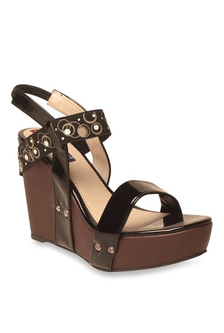 Lishabee by MSC Black Sling Back Wedges