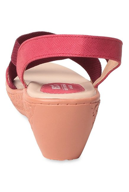 MSC Pink & Red Cross Strap Wedges