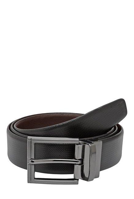 Teakwood Leathers Black & Brown Textured Reversible Belt