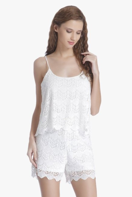 42c8bda07f Buy Only White Lace Playsuit for Women Online   Tata CLiQ