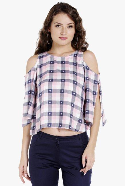 cca40306d81 Buy Globus Pink Checks Cold Shoulder Crop Top for Women Online ...