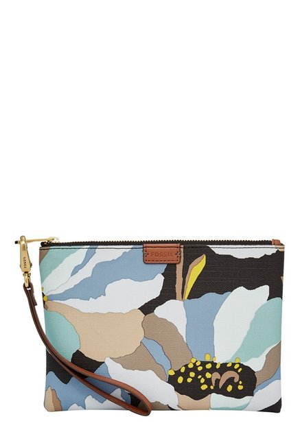 Fossil Blue & Black Printed Leather Wristlet