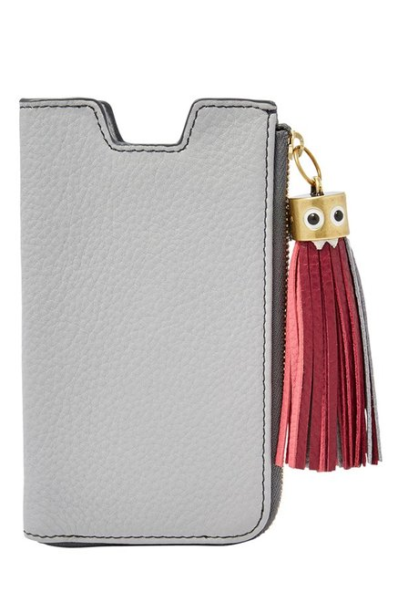 Fossil Light Grey Tassel Leather Pouch