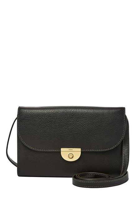 Fossil Black Solid Leather Flap Sling Bag