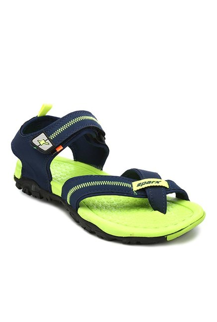 767db6249a20df Buy Sparx Navy   Fluorescent Green Floater Sandals for Men at Best Price    Tata CLiQ
