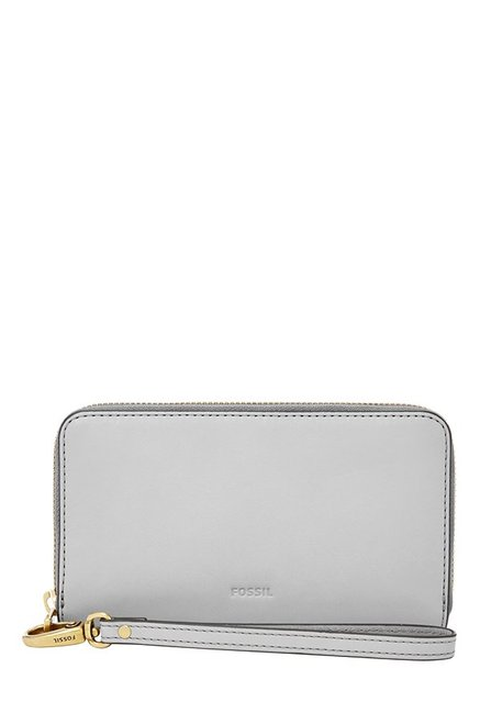 Fossil Grey Solid Leather RFID Wallet