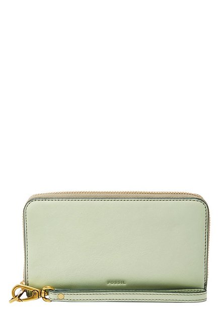 Fossil Light Sage Solid Leather RFID Wallet
