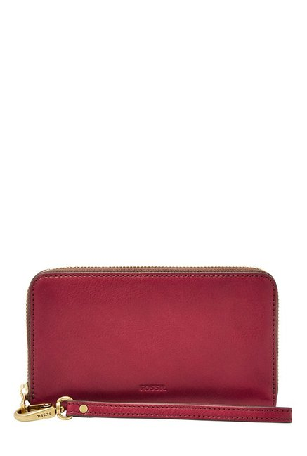 Fossil Maroon Solid Leather RFID Wallet