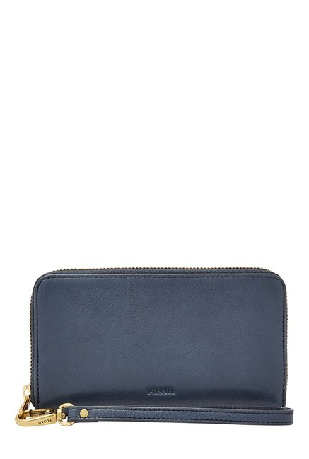 Fossil Navy Solid Leather RFID Wallet