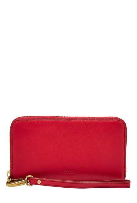 Fossil Crimson Red Solid Leather RFID Wallet