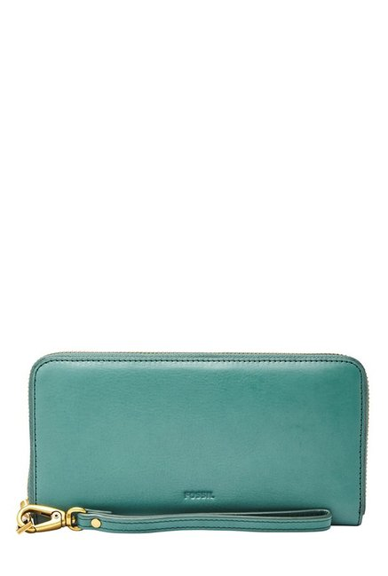 Fossil Teal Green Solid Leather RFID Wallet