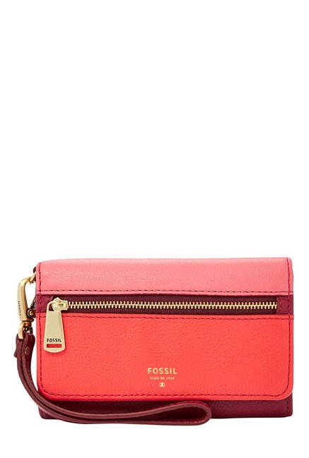 Fossil Red & Pink Panelled Leather Tri-Fold Wallet