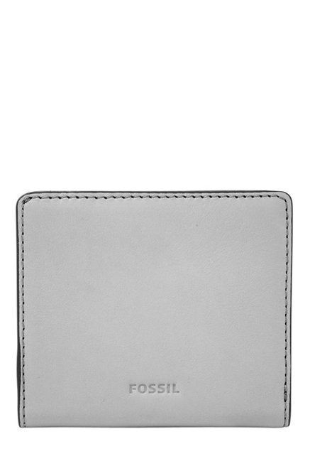 Fossil Grey Solid Leather RFID Mini Wallet