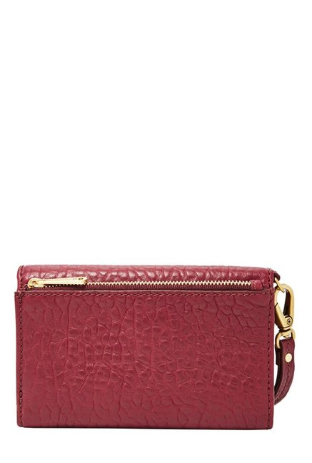 Fossil Maroon Textured Leather Tri-Fold Wallet