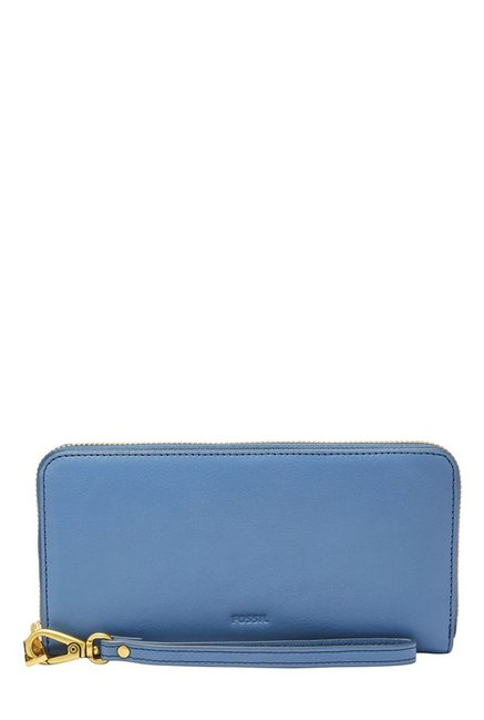 Fossil Cornflower Blue Solid Leather RFID Wallet