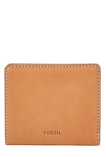 Fossil Tan Solid Leather RFID Mini Wallet