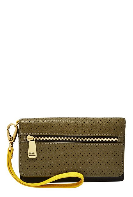 Fossil Black & Olive Perforated Leather Tri-Fold Wallet