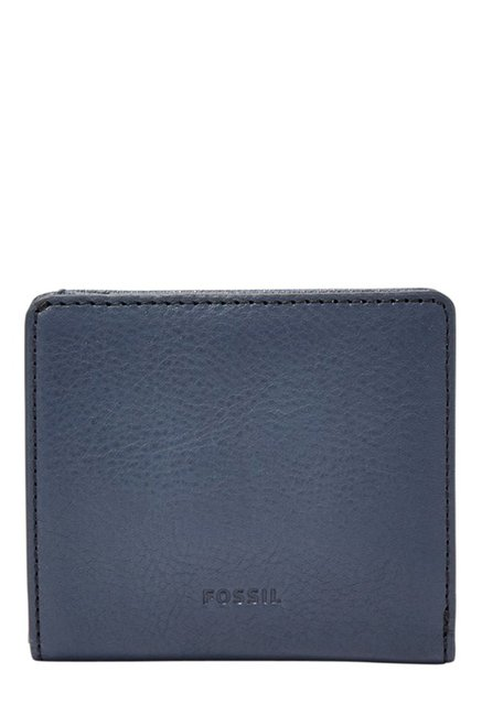 Fossil Navy Solid Leather RFID Mini Wallet