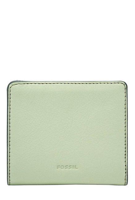 Fossil Light Sage Solid Leather RFID Mini Wallet