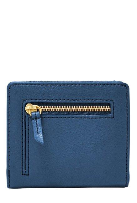 Fossil Marine Blue Solid Leather RFID Mini Wallet