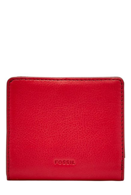 Fossil Crimson Red Solid Leather RFID Mini Wallet