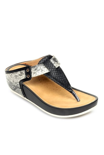 Pavers England Black & Grey T-Strap Wedges