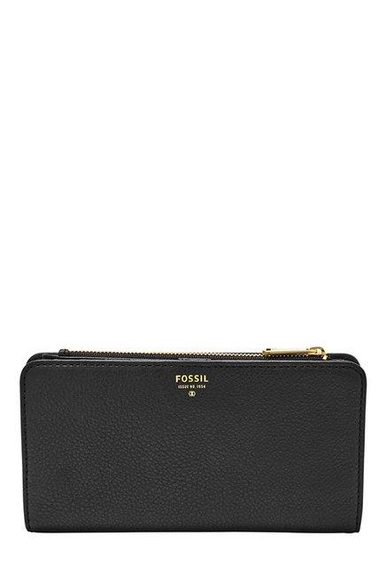 Fossil Black & Olive Solid Leather Bi-Fold Wallet